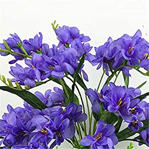 Silk Flower Arrangements Artificial and Dried Flower 9 Fork Freesia Artificial Flowers Real Touch Artificial Moth Orchid Butterfly Orchid for House Home Wedding Festival Decoration - ( Color: Blue)