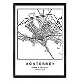 Nacnic Lámina Mapa de la Ciudad Monterrey Estilo nordico en Blanco y Negro. Poster tamaño A3 Sin Marco Impreso Papel 250 gr. Cuadros, láminas y Posters para Salon y Dormitorio