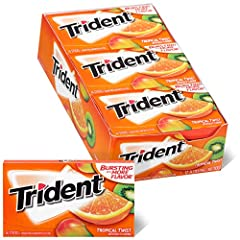 12 packs with 14 pieces each, 168 total pieces, of Trident Tropical Twist Sugar Free Gum Tropical fruit flavored sugar free chewing gum Helps clean and protect teeth while providing fresh breath Made with xylitol Chewing Trident after eating and drin...
