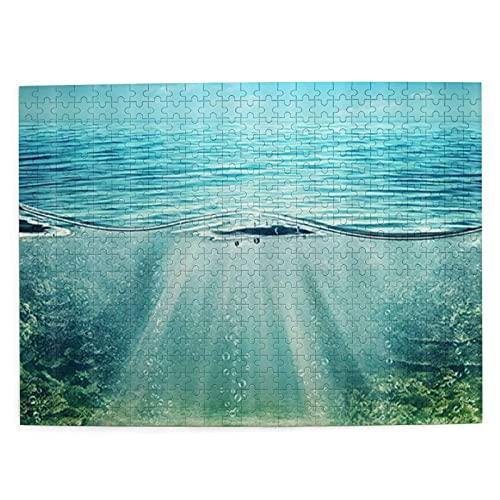 NANITHG 500 Piezas Rompecabezas Rompecabezas Ocean Mystic Deep Blue Abyss Underwater Wlord con árbol Planta Superficie Ondulada Tropical Seascape Familia Educativo Intelectual Descompresión Diversión