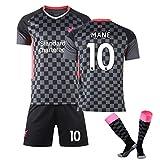 LCHENX-Männer des Jungen 20-21 Liverpool Football # 10 Sadio Mane Fans Jersey Sets Fußball Trikot Sportanzug,Schwarz,10~11Years