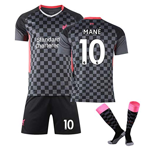 LCHENX-Fútbol Masculino 20-21 Liverpool # 10 Fanáticos de Sadio Mane Conjunto de Jersey Traje Deportivo Camiseta de Fútbol,Negro,M