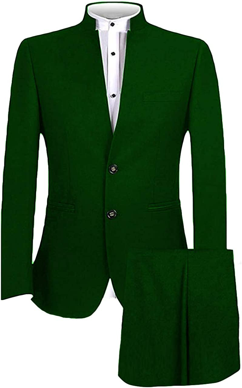 LYXP Mens Suit Vintage Style Mandarin Collar Slim Fit Groomsmen Formal Business Wedding Tuxedo 2 Piece(Jacket+Pant)