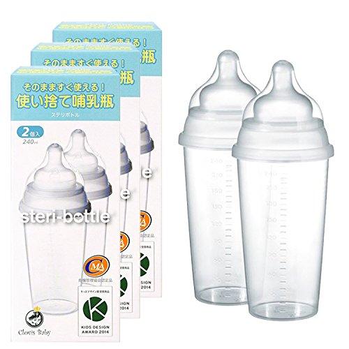 クロビスベビー ステリボトル 洗浄・消毒不要 使い捨て哺乳瓶(240ml) 2個入り 3箱セット