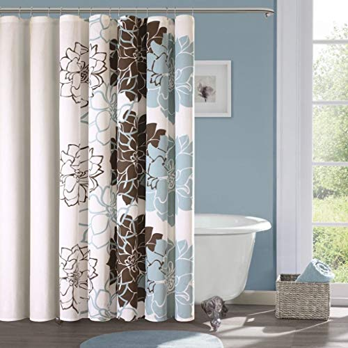 Crystal Emotion Lola Cotton Shower Curtain, Blue/Brown, 100% Waterproof Hooks are Included 72x72inch, Fabric Bathroom Shower Curtain Set,Bath Curtains