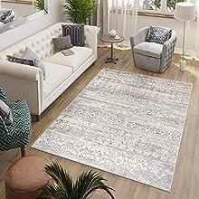 Tapiso Valley Alfombra de Salón Comedor Dormitorio Diseño Moderno Vintage Gris Beige Crema Geométrico Suave 120 x 170 cm