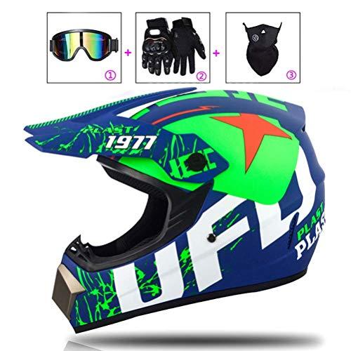 LEENY Motocross-Helm Motorradhelm für Herren Damen, Cross-Helme Set mit Brillen/Maske/Handschuhe, Motorrad Sports Downhill Enduro-Helm ATV MTB Quad Motorräder Off-Road-Helm, Grün,L