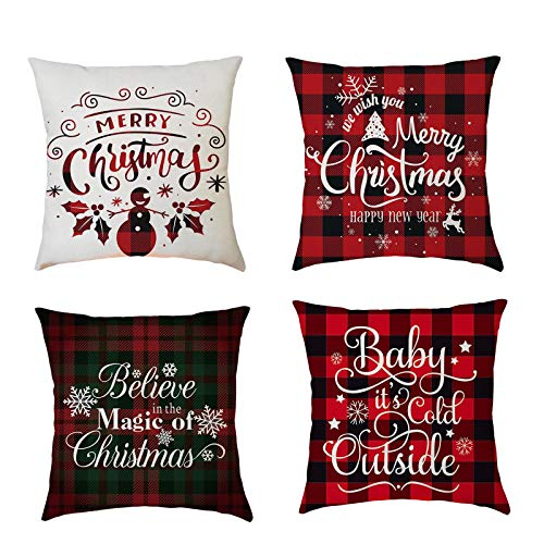 Christmas Pillowcase, Christmas Decorations, Printed Pillowcase, Sofa, Indoor Home Decoration, Sofa, Car Cushion Cover, Deer Santa Claus, Christmas Tree 4Pcs