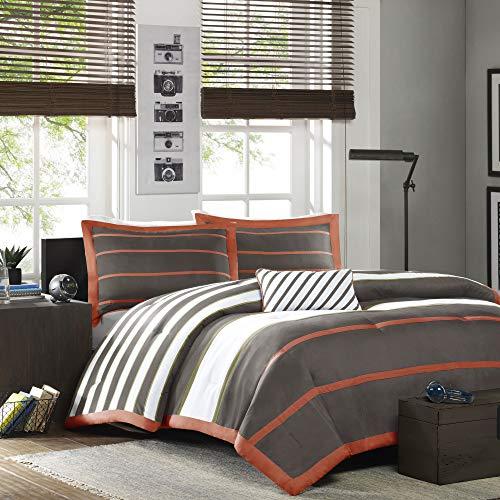 MI ZONE Ashton Bedding Boy Set, Ultra Soft Microfiber Kid Childrens Bedroom Comforters, Full/Queen, Orange/Grey