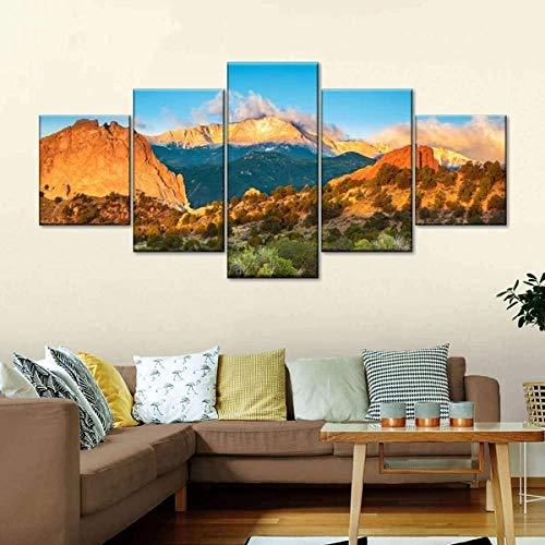 5 Piezas Cuadro Pikes Peak Amanecer 5 Piezas Impresión En Lienzo Tablero del Moderno Cuadro De Pintura Póster De Arte Sala De Decoración Hogareña