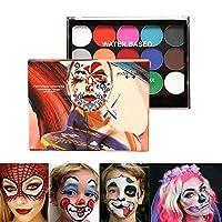フェイスボディペイント速乾性タトゥーペイント顔料油絵アート美容プロフェッショナルフェイスペイントパレット、フェイスペイント安全敏感肌用ハロウィンメイク15色