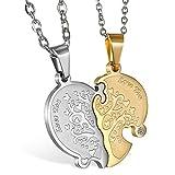 JewelryWe Collana Amanti Fidanzati Amicizia in Acciaio Inossidabile Love You,Albero della Vita, Cuore Puzzle, Colore Oro Argento