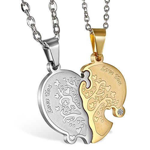 JewelryWe 1 Par Collares de Parejas Enamorados Corazón Partido, Colgante de Árbol de la Vida Dorado Plateado Collar Hombre Mujer Acero Inoxidable, Regalo de San Valentín