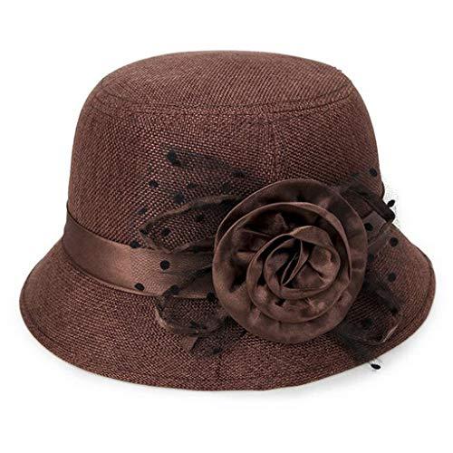 iYmitz Damen Frühling und Sommer Neue Mode Leinen Sonnenschirm Elegant Hut Bestickt Sonnenhut Sonnenschutz Visoren(Braun,One size)