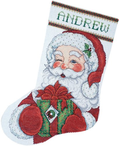 Tobin DW5959 14 Count Winking Santa Stocking Counted Cross Stitch Kit, 17-Inch Long