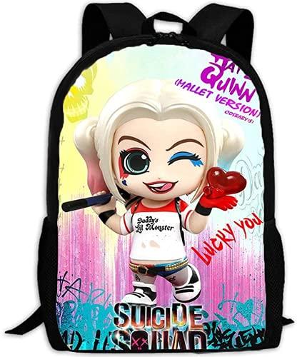 Harley Quinn - Mochila ajustable con impresión 3D para niños, diseño de dibujos animados