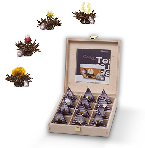 Creano Holz-Tee-Box mit 12 Teerosen - Schwarzer Erblüh-Tee