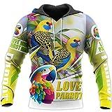 BAITE ONE Sudadera unisex con cremallera impresa en 3D para hombre Love Parrot, Sudadera con capucha., XXX-Large