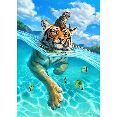 DIY 5D Diamante Pintura Kits, Kit de Pintura de Diamantes 5D Tigre y gato nadando Diamond Painting Completo Bordado Punto de Cruz Craft para Home Decoración de la Pared-Round Drill,40x50cm E4704