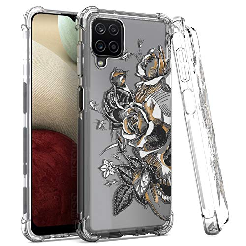 EnCASEs Cell Phone Case for Samsung Galaxy A12, Classic Clear TPU Skull Floral Shockproof Bumper Protective Case Cover for Women Girls Men