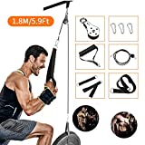 Riiai Cable Pulley, Tricep Pulley System for Arm Strength Training,1.8Meter DIY Pulley Cable Attachment, Cable Pulley System, Gym Pulley, Home Gym Pulley Equipment Workout (1.8M)