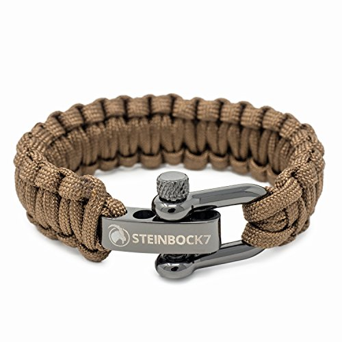 Steinbock7 Paracord Survival Armband, Braun, Glanz-Edelstahl Verschluss Einstellbar, Inklusive Anleitung zum Flechten