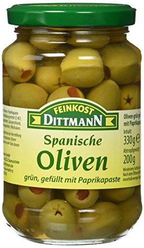 Feinkost Dittmann Oliven grün gefüllt mit Paprikapaste, 4er Pack (4 x 330 g)