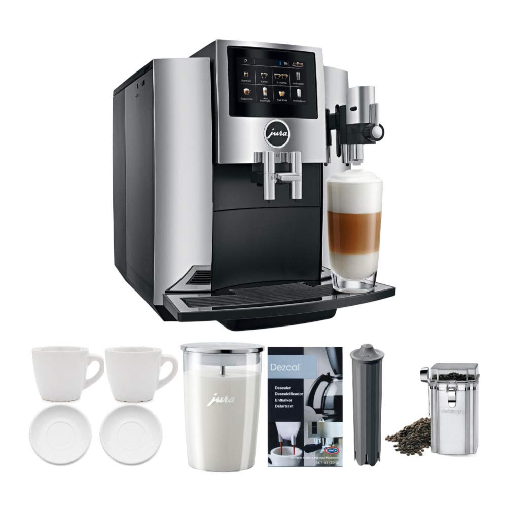 JURA S8 Automatic Coffee Machine, Chrome Includes Milk Container, Bean Canister, Filter, Descaler & Espresso Cups Bundle (7 Items)