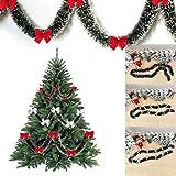 CHEN HAO Guirnalda de árbol de Navidad de pino, adorno de corona de Navidad brillante para colgar en la pared con kit de nudo de mariposa, para adorno de fiesta festiva