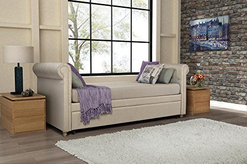 DHP Sophia Upholstered Daybed/Sofa Bed with Trundle, Twin Size Frame, Tan