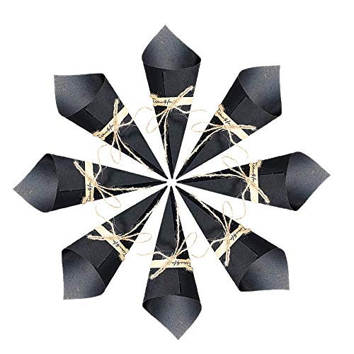 50Pcs Retro Kraft Paper Cones,Wedding Confetti Cones,Party Bouquet Candy Chocolate Small Gift Jewelry Boxes with Hemp Ropes Label Stickers Tape (Black)