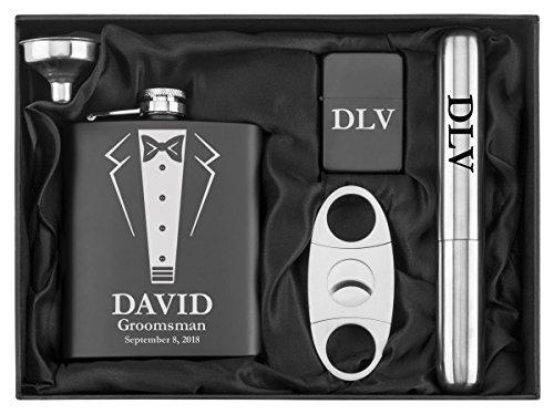 Engraved 7oz Stainless Steel Flask Funnel Cigar Cutter Lighter Wedding Tuxedo Gift Set Custom Personalized