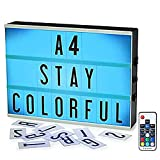 Color Changing Light Box,ROTEK A4 Wireless 1200mA Built-in Battery Cinema Light Box with Letters,189 Total Letters, 7 Colors Remote-Controlled Combination DIY LED Cinema Light Box