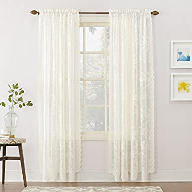 No. 918 Alison Floral Lace Sheer Rod Pocket Curtain Panel,Ivory Off-White,58  x 84