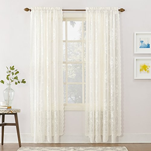"No. 918 24518 Alison Floral Lace Sheer Rod Pocket Curtain Panel, 58"" x 84"", Ivory"