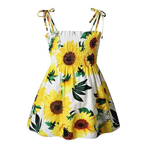 Kobay Mädchen Sommer interessant Muster Kleinkind Kinder Baby Mädchen Sonnenblume Slip Kleid Blumen Strandkleid Kleidung