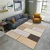 Alfombras Antideslizantes Alfombra Habitacion Niña Café gris dorado patrón moderno sala de estar para niños accesorios antideslizantes anti-ácaros no se desvanecen Alfombra Cocina Antideslizante 160x2