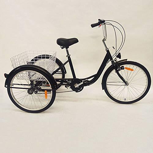 WUPYI2018 61 cm Dreirad für Erwachsene, 3 Räder, 6-Gang-Fahrrad, Erwachsenen-Einkaufs-Dreirad mit Einkaufskorb