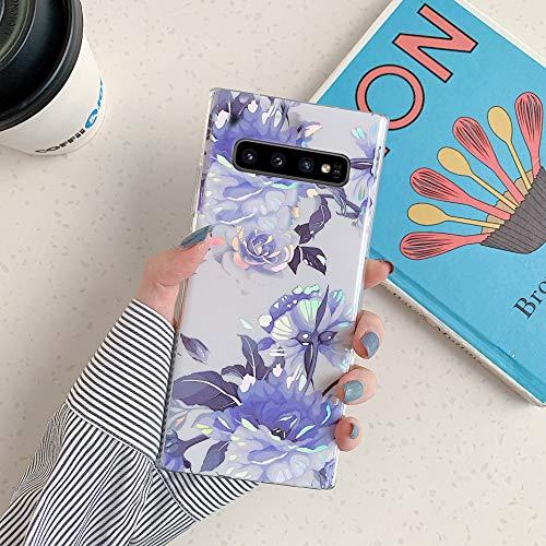 Herbests Kompatibel mit Samsung Galaxy S10 Plus Hülle Transparent Silikon Blumen Schutzhülle Glitzer Glänzend Bunt Ultra Dünn weiche Silikon Handyhülle Tasche Rückschale Crystal Case,Blau