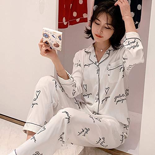 HUANSUN Pijamas de satén de Verano, Pijamas Blancos para Mujer, Ropa de Dormir de Manga Completa, Pijamas de Seda de imitación para Mujer, Letra Blanca, XXL