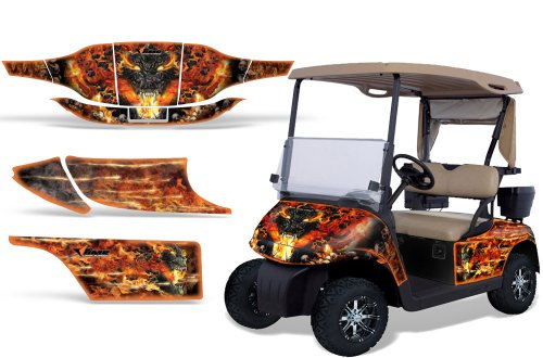1996-2010 EZGO Golf Cart AMRRACING ATV Graphics Decal Kit-Firestorm-Orange