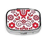 Nicegift Pastillero de metal portátil con flores rojas y blancas de arte popular polaco,adecuado para familias y negocios,así como para viajes cortos