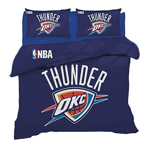 QWAS Oklahoma City Thunder - Juego de cama (funda nórdica de 1,135 x 200 cm + 50 x 75 cm x 2 cm)