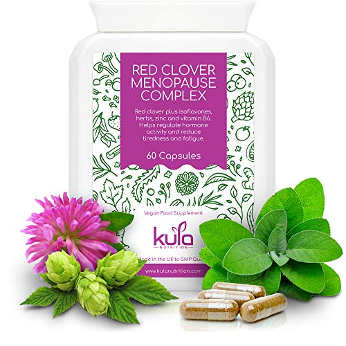 Kula Nutrition – Herbal Menopause Support - 60 Capsules - Natural Vegan Supplement with Vitamins and Minerals - Soya Isoflavones, Red Clover, Sage Leaf, Ginseng, Wild Yam, Hops, Vit B6, Zinc and more.