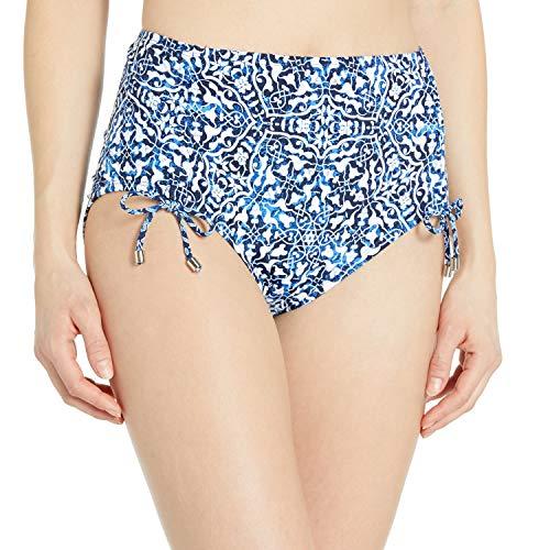 24th & Ocean Women's High Waist Side Tie Hipster Bikini Swimsuit Bottom, Navy//Mosaic Tile, L
