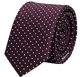 Fabio Farini - Elegante e setosa cravatta da 8 cm di larghezza con puntini per ogni occasione rosso scuro porpora violetta bianco