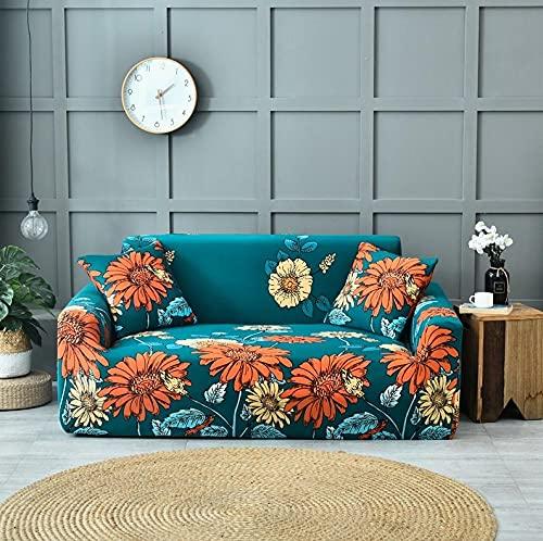 Funda Sofa 1 Plaza Girasol Verde Fundas para Sofa con Diseño Elegante Universal,Cubre Sofa Ajustables,Fundas Sofa Elasticas,Funda de Sofa Chaise Longue,Protector Cubierta para Sofá
