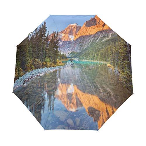 SUHETI Regenschirm Taschenschirm,Natur Kanadische Berge Drucken,Auf Zu Automatik,windsicher,stabil