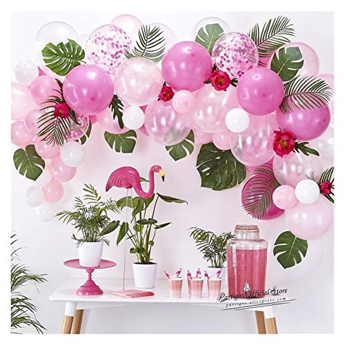 JSJJAES Balloons Mix Pink Flamingo Balloons Chain DIY Globos Garland Monstera Leaves Birthday Party New Year Decor (Color : 75pcs no leaf)