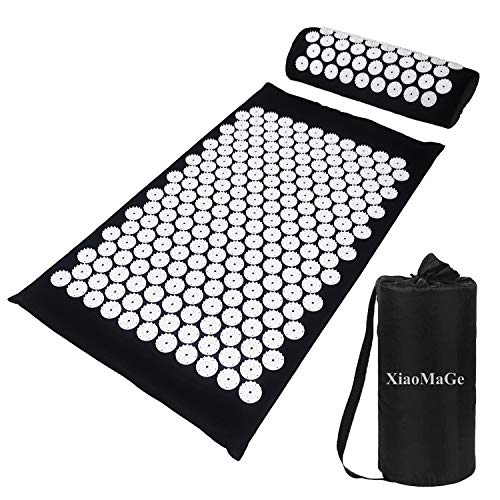 Yoga Acupressure Mat and Pillow Set with Bag - Extra Long 29.1 X 16.9 inch Massage Acupuncture Mat - Naturally Relax Back, Neck and Feet Muscles - Stress and Pain Relief (Black)